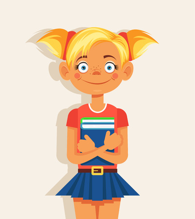 young schoolchild: Schoolgirl with book. Vector flat cartoon illustration Illustration