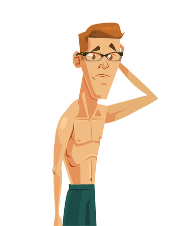 hombre flaco: Hombre débil. Vector ilustración de dibujos animados plana Vectores