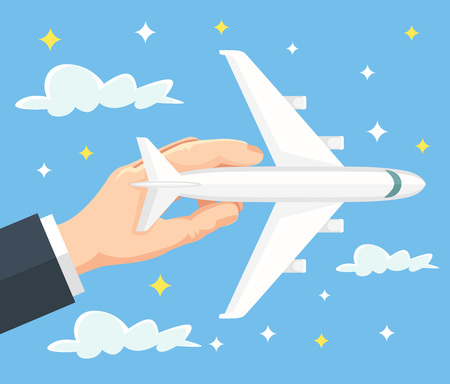 airplane travel: Hand holds airplane. Banner of travel by airplane. Vector flat cartoon illustration