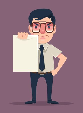 holds: Angry boss holds sheet of paper. Vector flat cartoon illustration Illustration