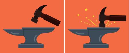 Anvil and hammer. Vector flat cartoon illustration Illustration