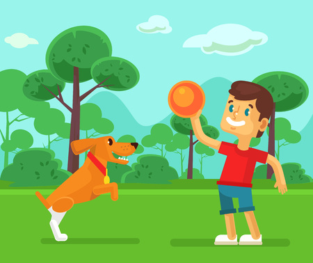 catch: Boy playing with cute dog. Vector flat cartoon illustration