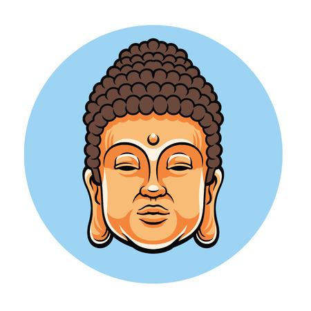 buddha head: Head of Buddha. Vector flat cartoon illustration