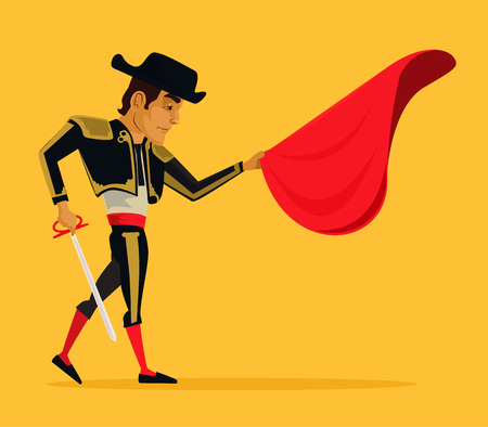 bullfight: Matador vector flat cartoon illustration