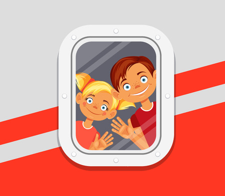 cartoon window: Children looking from window of plane. Vector flat cartoon illustration