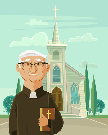 bishop: Catholic priest and church. Vector flat cartoon illustration