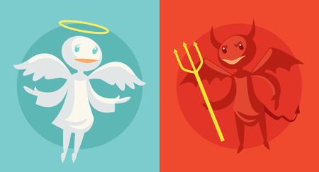 quandary: Devil and angel. Vector flat cartoon illustration