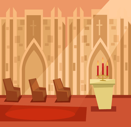 Empty church room inside. Vector flat cartoon illustration Illustration