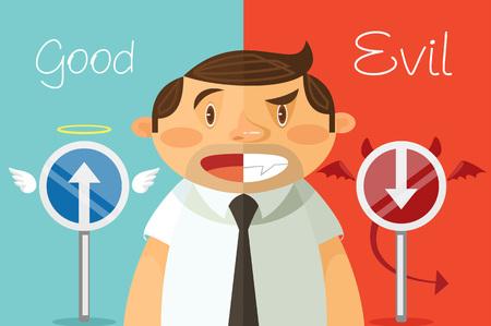Le Bien et le Mal. Vector plate illustration de bande dessinée Vecteurs