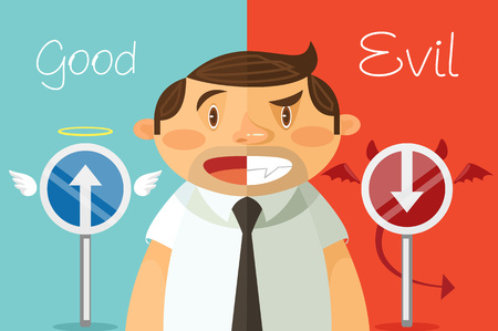 Good and evil. Vector flat cartoon illustration Illustration