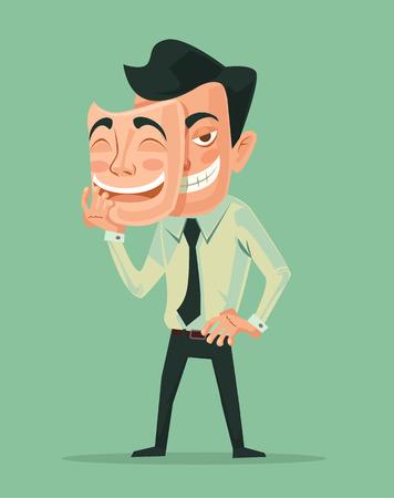 Bad man wear good mask. Vecctor flat cartoon illustration