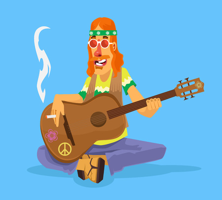 60s hippie: Hippie man plays guitar. Vector flat cartoon illustration Illustration