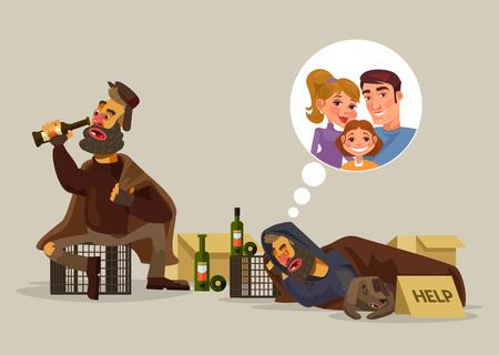 Homeless man rêve de la famille. Vector plate illustration de bande dessinée Vecteurs