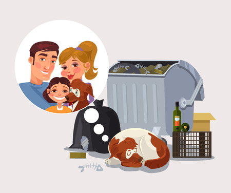 expel: Homeless dog remember about family. Vector flat cartoon illustration