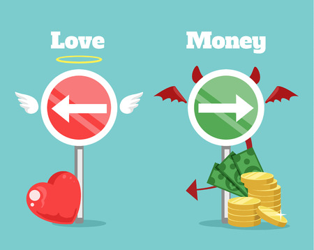 love of money: Choice between love and money. Vector flat cartoon illustration