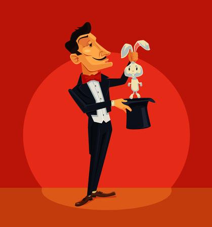 Goochelaar bedrijf konijn. Vector flat cartoon illustratie
