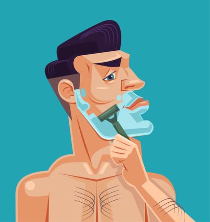 Man shaving face. Vector flat cartoon illustration