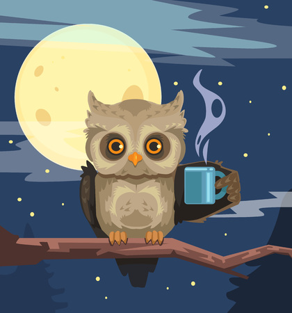 early in the evening: Owl with cup of coffee. Vector flat cartoon illustration
