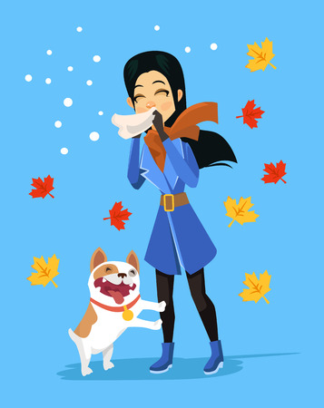 allergic reactions: Allergic to pets. Vector flat cartoon illustration Illustration