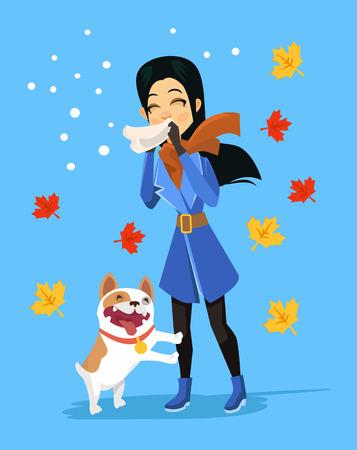 itching: Allergic to pets. Vector flat cartoon illustration Illustration