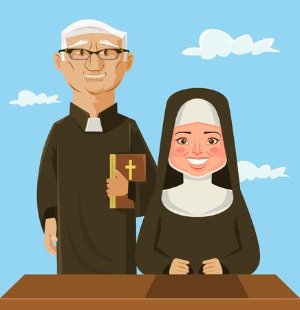 Sacerdote e suora. Vector piatta cartone animato Vettoriali