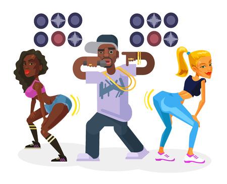 black american: Rap singer with dancing girls. Vector flat cartoon illustration