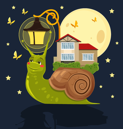 magical equipment: Fabulous snail with house on her back. Vector flat cartoon illustration Illustration