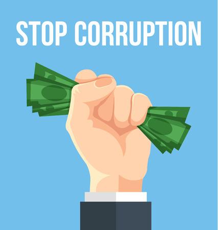 Stop corruption. Vector flat cartoon illustration