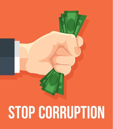 the corruption: Stop corruption. Vector flat cartoon illustration