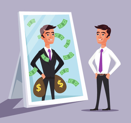personality development: Business man see himself being successful. Vector flat cartoon illustration