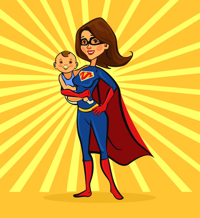 mother and son: Super mom. Vector flat cartoon illustration
