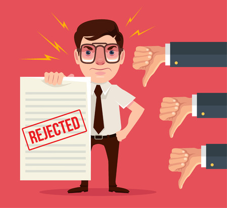 denial: Rejected document and dislike hands. Vector flat cartoon illustration