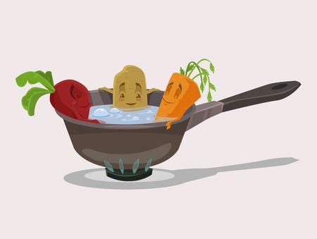 Boiled vegetables. Vector flat cartoon illustration