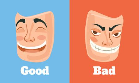 Goede en slechte masker. Vector flat cartoon illustratie