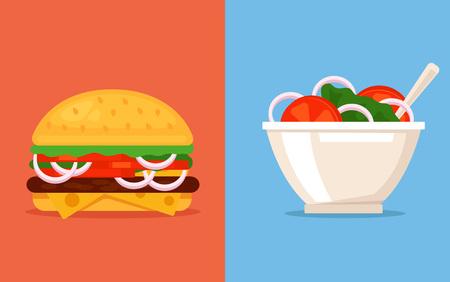 comida rica: Elija entre alimento útil y deliciosa. Vector ilustración de dibujos animados plana