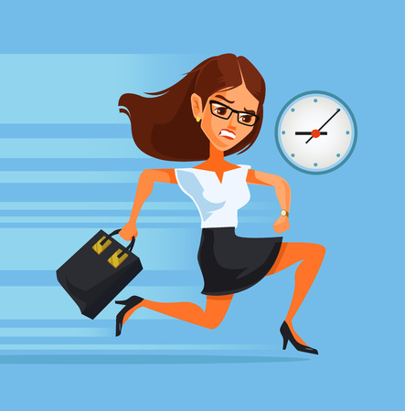 late: Woman late. Vector flat cartoon illustration