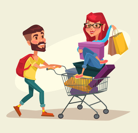 woman holding money: Shopping. Vector flat cartoon illustration