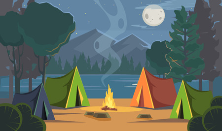 Vector flat cartoon camping illustration