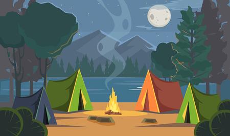 Vector flat cartoon camping illustration