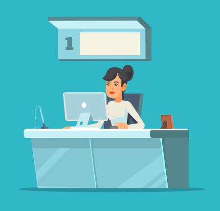receptionists: Receptionist. Vector flat cartoon illustration