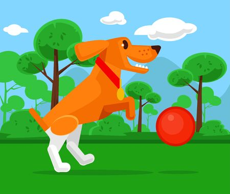 dog park: Dog playing with ball. Vector flat cartoon illustration
