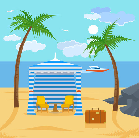 sunny beach: Sunny beach. Vector flat cartoon illustration