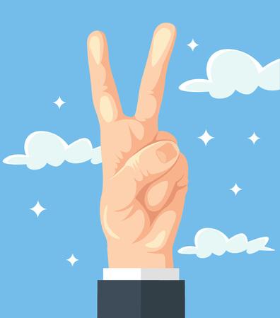 expressing positivity: Hand show peace sign. Vector flat cartoon illustration Illustration