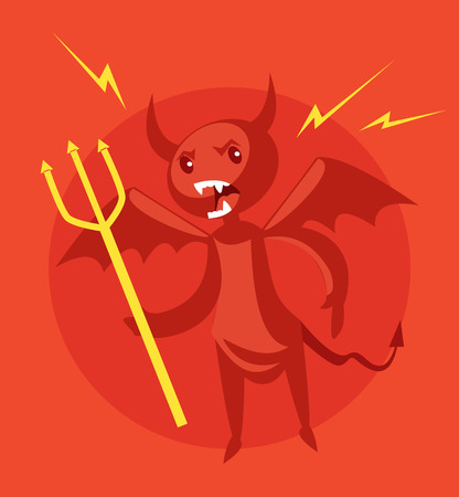 daemon: Angry devil. Vector flat cartoon illustration