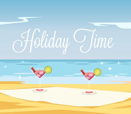 beach ad: Holiday time banner. Vector flat cartoon illustration