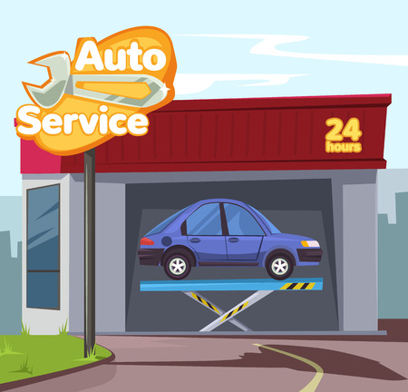 auto service: Auto service. Vector flat cartoon illustration Illustration