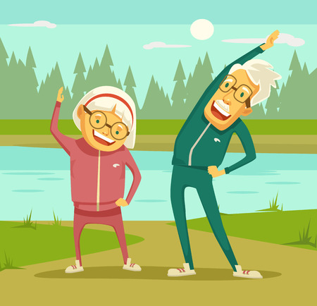 Elderly people doing exercises. Vector flat cartoon illustration Çizim