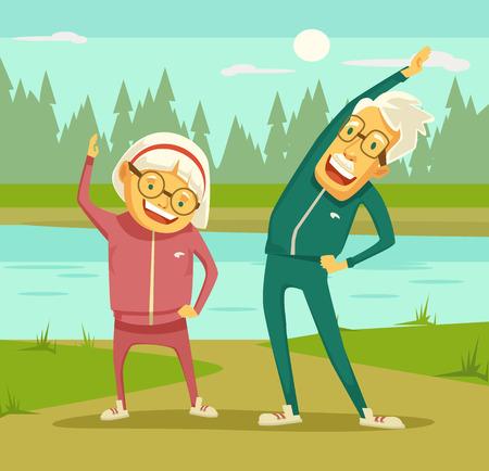 gimnasia: Las personas mayores haciendo ejercicios. Vector ilustración de dibujos animados plana
