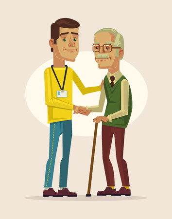 walk: Social worker and grandfather. Vector flat cartoon illustration