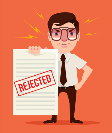 unemployed dismissed: You are fired. Angry boss. Vector flat cartoon illustration
